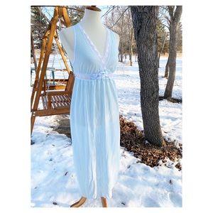 Vintage Slip Dress Satin Jacquard Stripe Lace Trim
